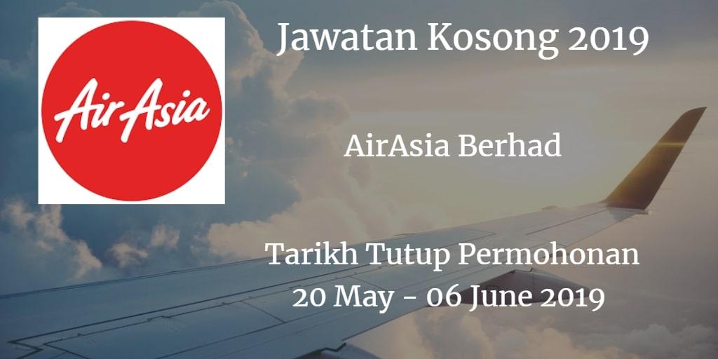 Jawatan Kosong AirAsia Berhad 20 May - 06 June 2019