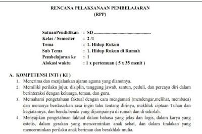RPP Kurikulum 2013 Kelas 2 SD Tema 1 Subtema 1