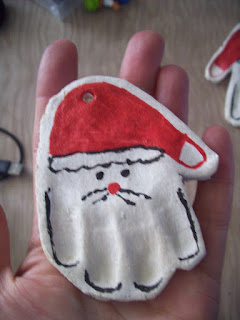 santa hand print decoration