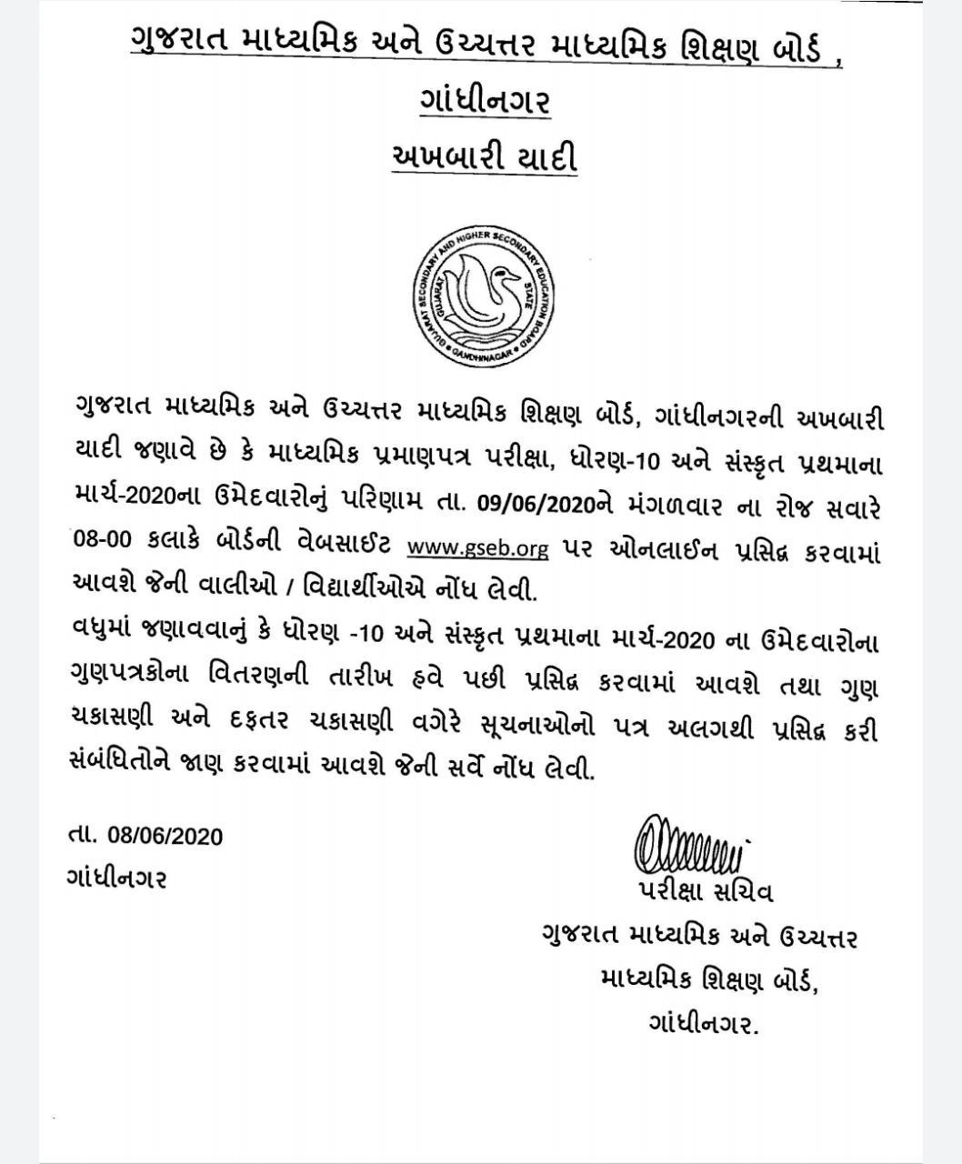 Gujarat 10th Result