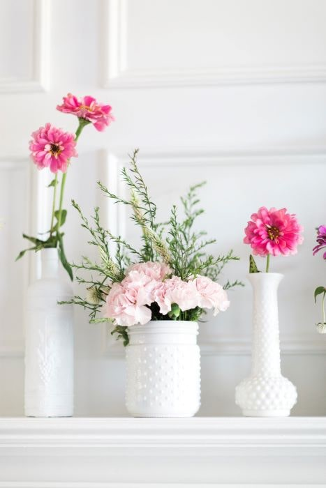 Give your home a little retro feel with these easy DIY milk glass vases.