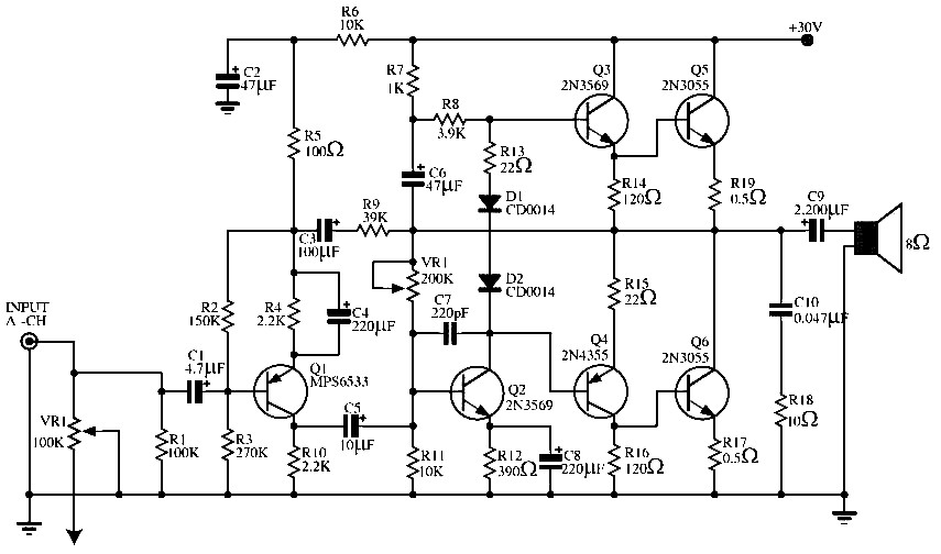 audio power amplifier circuit by using 2n3569 2n3055 mps6533 2n4355