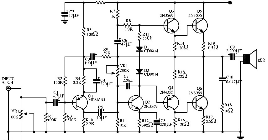 2n3055 power amplifier circuit diagram