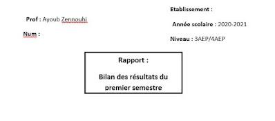 Bilan des résultats du premier semestre Rapport 3AEP - 4AEP