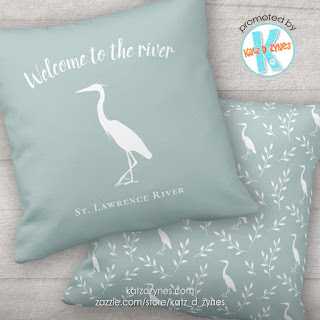 Welcome to the river heron silhouette custom outdoor throw pillow