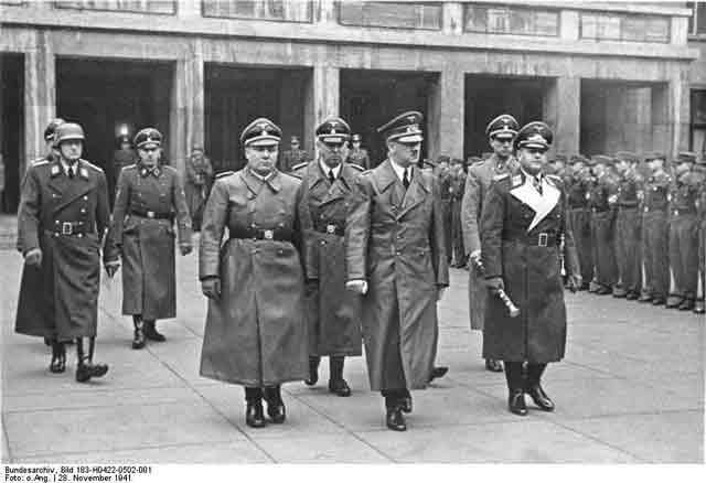 Hitler, Milch, Bormann, Schaub, Brandt at Molders funeral, 28 November 1941 worldwartwo.filminspector.com