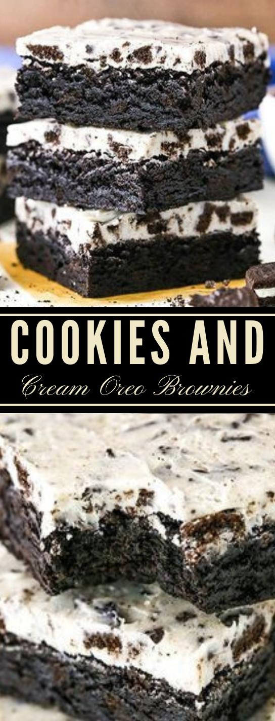 FUDGY COOKIES AND CREAM BROWNIES #desserts #pumpkin #cookies #brownies #easy