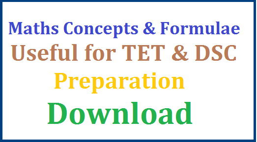 Useful Mathematical Concepts and Formulea for TET and DSC | Important Maths Formulas for DSC Preperation | Essential Mathematical Concepts for Teachers Eligbility Test for Maths Candidates | SSC Inter Students can utilise these formulea in their preparation | Essential Mathematical Concepts for TSPSC Teachers Recruitment DSC Preperation Process | useful-mathematical-concepts-and-formulae-tet-dsc