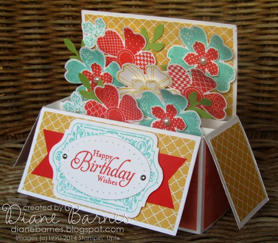 colour me happy Flower Shop Long Card in a Box (with template)