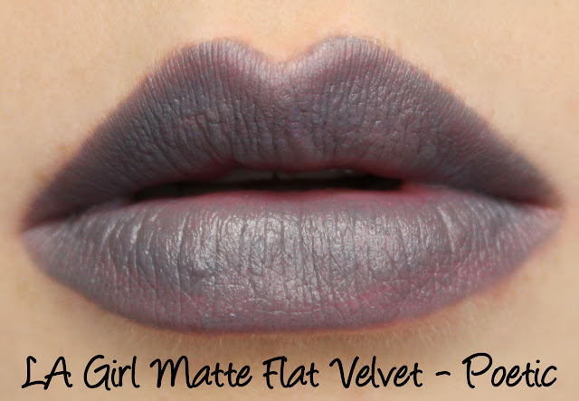 LA Girl Matte Flat Velvet Lipstick - Poetic Swatches & Review