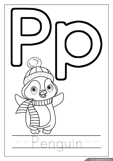 Letter p coloring, penguin coloring, ABC coloring page