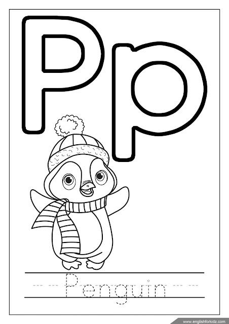 Letter p coloring, penguin coloring, ABC coloring page