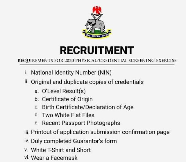 Screening of new constables into  Nigeria Police Force scheduled to hold 24th August to September 6th
