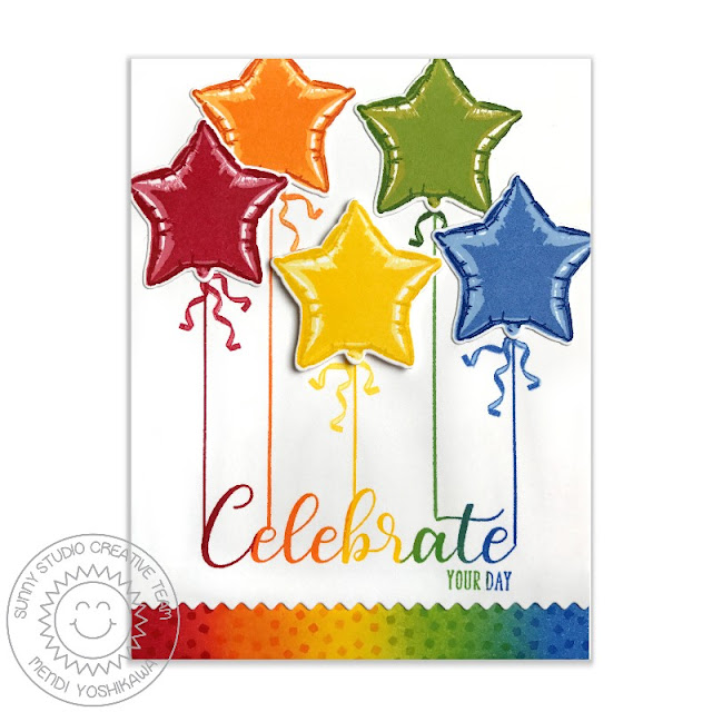 Sunny Studio Stamps: Bold Balloons Color Layering Rainbow Star Birthday Card by Mendi Yoshikawa