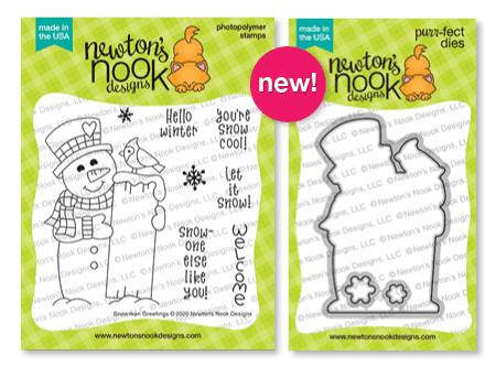Snowman Greetings Stamp Set and Die Set by Newton's Nook Designs #newtonsnook