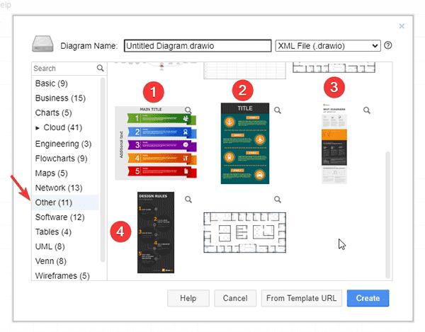 seleccionando plantillas en aplicación diagrams.net