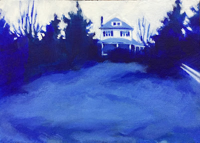 Acrylic landscape painting of old farm house surrounded by overgrown trees by Maryland artist Barb Mowery