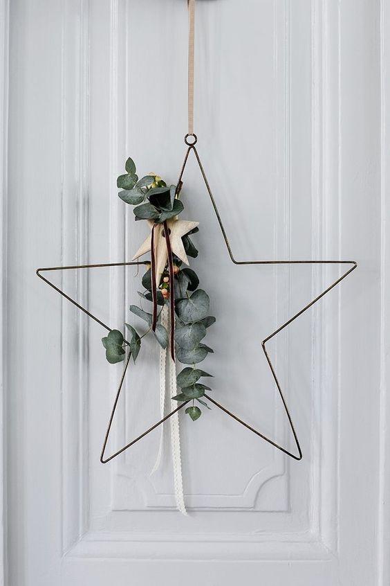 image result for farmhouse christmas decorating eucalyptus star