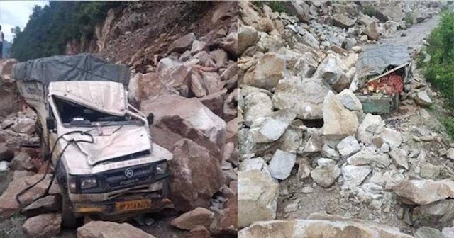 हिमाचल में पहाड़ियों से पत्थर गिरने का क्रम जारी, आज जीप पर गिरा; गाड़ी के उड़ गए परखच्चे
