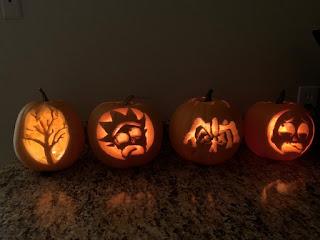 4 pumpkins carved