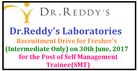 Dr.Reddy's Laboratories - Recruitment Drive for Fresher's (Intermediate Only) on 30th June, 2017 @ Karimnagar Dr Reddys Labs 2017-18 Job Vacancy, Karimnagar - Recruitment | Dr.Reddy's Laboratories - Recruitment Drive for Fresher's (Intermediate Only) on 30th June, 2017 @ Karimnagar | Pharmacy Jobs in Karimnagar | Dr.Reddy's Laboratories - Recruitment Drive for Fresher's | Dr reddys laboratories Limited Dr. Reddy's Laboratories Recruitment 2017 for Freshers. Apply for Dr. Reddy's Laboratories Recruitment 2017 for Freshers. Interested and Eligible candidates can apply online for Dr. Reddy's Laboratories Karimnagar/2017/06/drreddys-laboratories-recruitment-drive-drive-freshers-karimnagar-self-management-trainee-post-apply.html