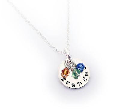 Swarovski Crystal Bicone Birthstone Charm Necklace for Grandma