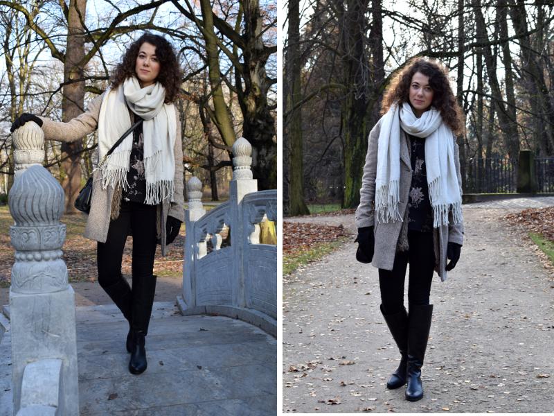 biały szalik, stylizacja, kozaki, CCC, płaszcz wełniany, futro, jesień, Warszawa, Łazienki, outfit