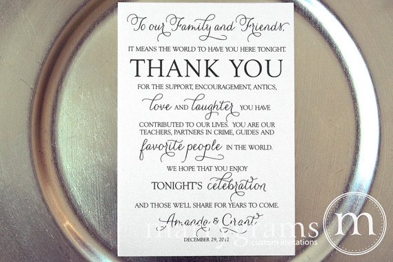 Thank You Letter For Wedding Guests: Unxia: Wedding Reception Thank You Sign