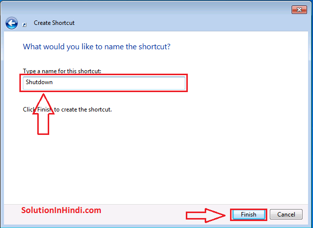 Pc Shortcut Auto Shutdown karne ke liye file name save kare
