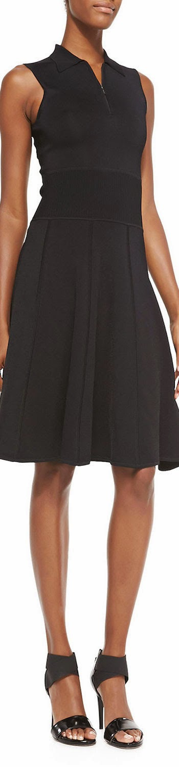 Jason Wu  Sleeveless Polo Dress W/ Flounce Hem in black