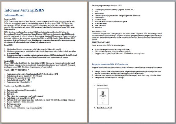 Berikut ini yaitu berkas Informasi Tentang ISBN  Informasi Tentang ISBN (International Standard Book Number)