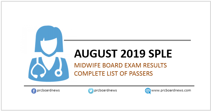 SPLE Result: August 2019 Midwife board exam list of passers (Middle East)