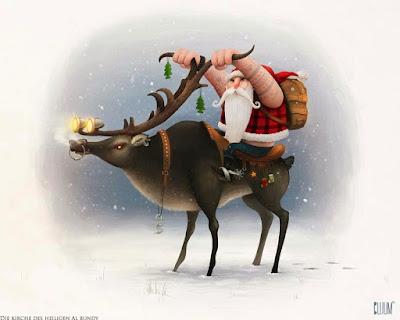 Weihnachtsmann mit Rentier lustig - witziger Rocker