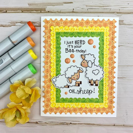 I just herd it's your birthday  by Meghan features Baa and Frameworks by Newton's Nook Designs; #inkypaws, #newtonsnook, #birthdaycards, #cardmaking