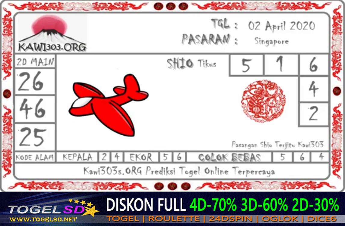 Prediksi Togel Singapura Kamis 02 April 2020 - Prediksi Togel SD
