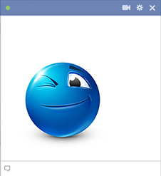 Winking blue smiley