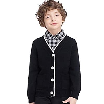80% OFF GAZIAR Boys Girls Sweater V-Neck Button Up School Uniform Cardigan with Pockets