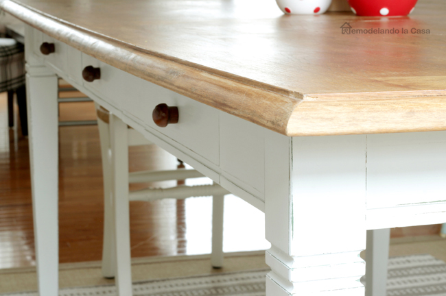 two tone dining table - white and wood