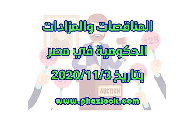 مناقصات ومزادات مصر في 2020/11/3
