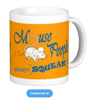 """Mouse People"" mouse mug, Blue Text"