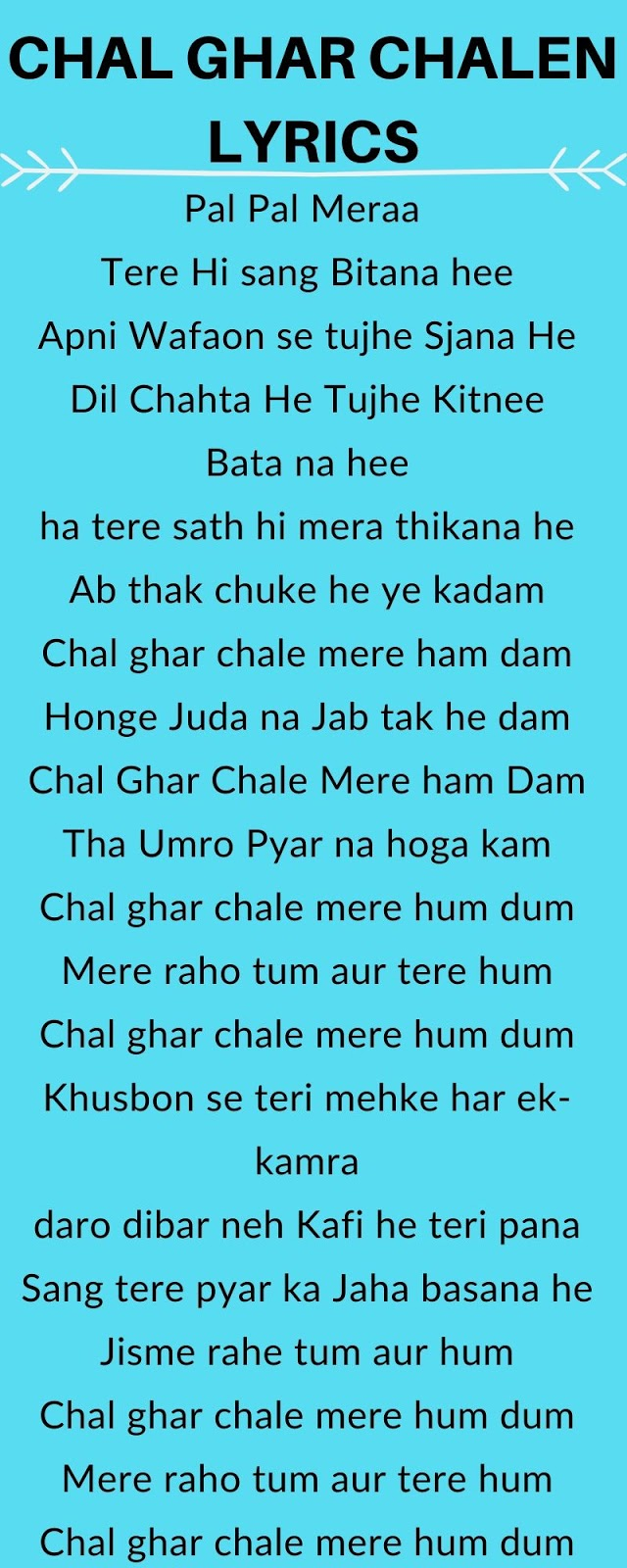 Chal Ghar Chalen Lyrics Malang Arijit Singh Bollywood Lyrics Hub