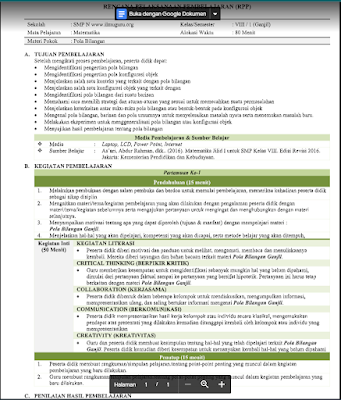 Download RPP Matematika Kelas 8 Semester 1 Kurikulum 2013