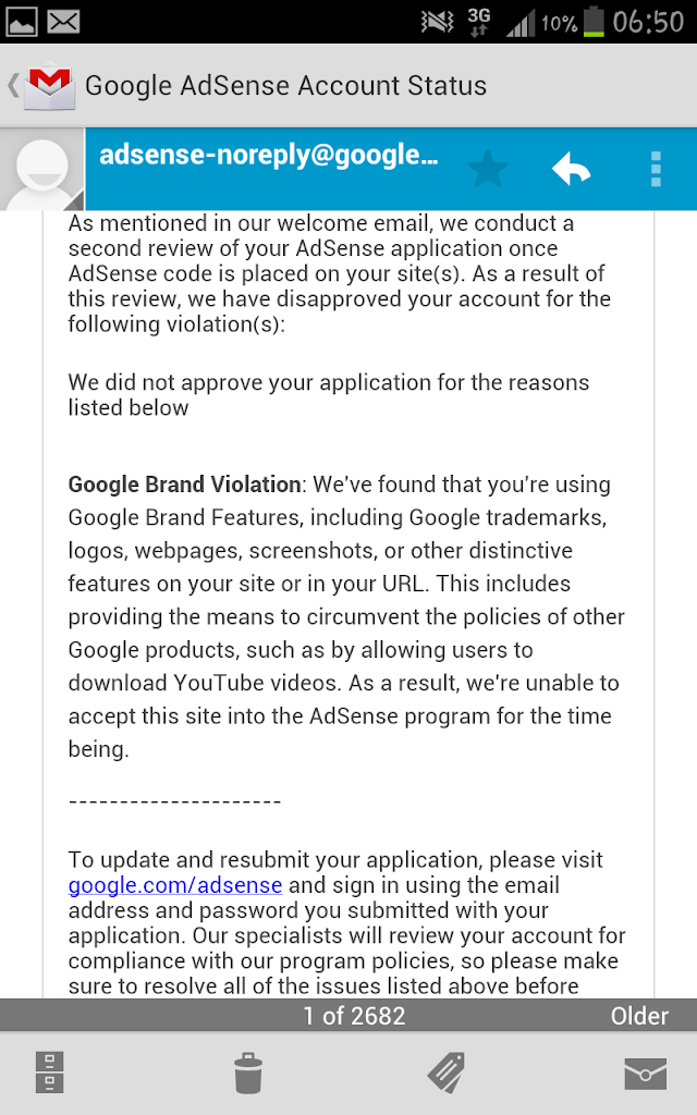 Pendaftaran Google Adsense Ditolak