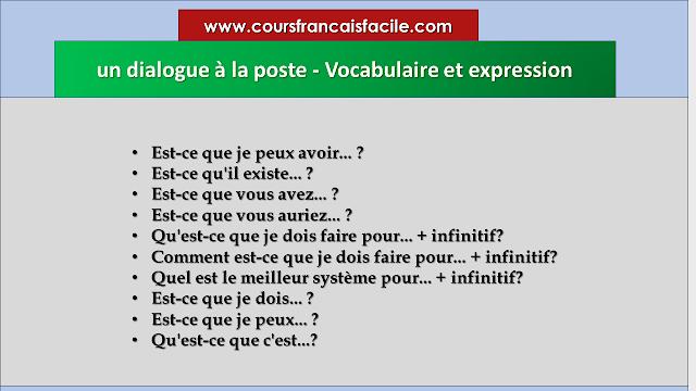 un dialogue à la poste - Vocabulaire et expression
