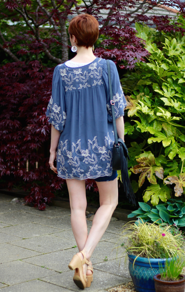 Fake Fabulous | Boho style, embroidered kaftan & Denim cut-offs over 40.