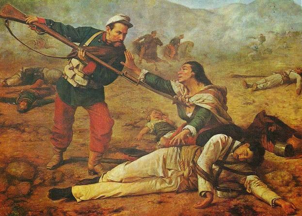 (2) El repase, óleo de Ramón Muñiz que ilustra la guerra del Salitre