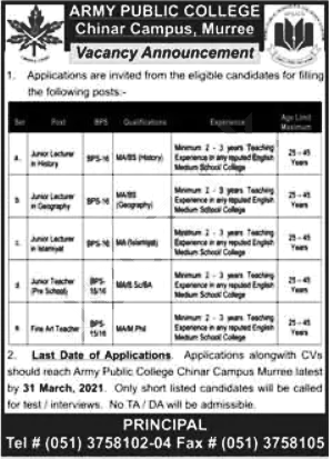 Army Public School & College Teaching Posts Murree Jobs in Pakistan Latest
