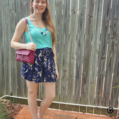 awayfromtheblue Instagram | turquoise tank with navy printed culotte shorts and magenta edie cross body bag