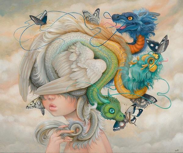 "Camilla d'Errico, ""Hydie"" - oil on wood panel | obras de arte pop contemporaneo, pinturas, surrealismo pop, art pictures inspiration | art selecta"