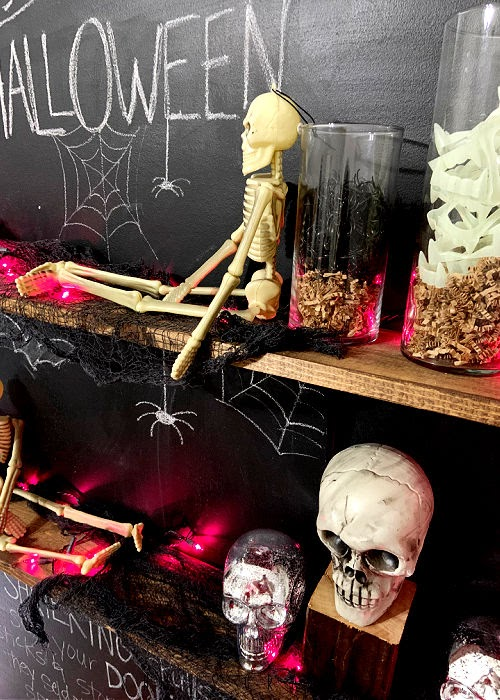 Halloween shelf decor - creepy cloth, skeletons